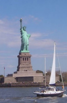 sailing by the Statue of Liberty -ship/crew page